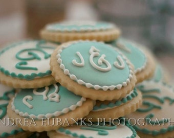 2 doz. Monogram Damask Wedding cookies