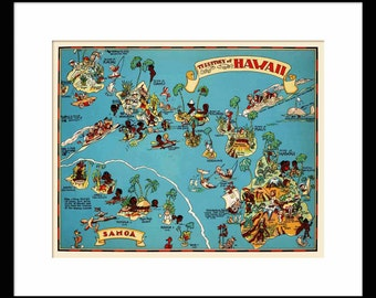 Hawaii Map - Map of Hawaii- Vintage Map - Print - Poster - Wall Art - Home Decor