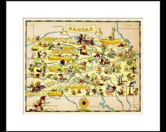 Kansas Map - Map of Kansas - Vintage Map - Print - Poster - Wall Art - Home Decor