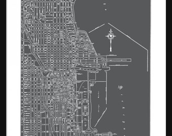Chicago Vintage Map - Chicago - Dark Gray - Print - Poster