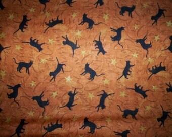 "Sale !! Black Cat Crossing Maywood Fabrics 1 yd x 44"" cotton fabric orange background with black cats yellow stars"