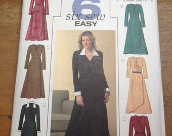 Butterick 4596 Mock Wrap Dress (6-8-10-12)