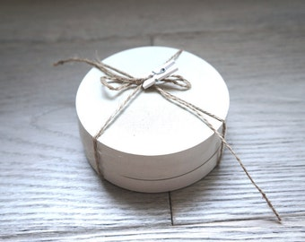 Round White Concrete Coasters, Set of 3