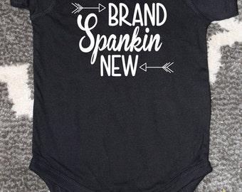 Funny Baby Bodysuit, Brand Spankin' New, Newborn Black Bodysuit, Baby Announcement, Funny Baby Shower Gift, Newborn Announcement