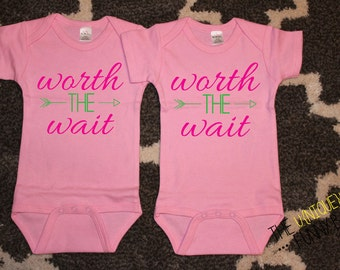 Twin Girls, Funny Baby Gift, Worth The Wait Twin Girl Bodysuits, Pink Bodysuits, Twin Gift Sets, Baby Shower Gift, Baby Announcement