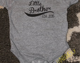 Little Brother Shirt, Little Brother Baseball Shirt, Brother Grey Sibling Shirts- order with or without year