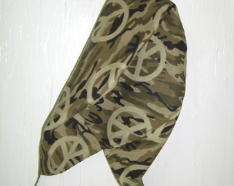 Camo w/Peace Sign Surgeon Cap/Surgical Hat