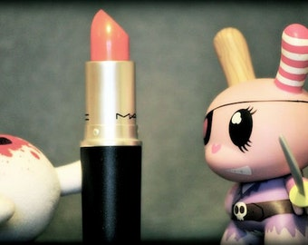 Fight to the Rouge - toy art, street photography, macro, for her, MAC makeup, wall art, pop art, kidrobot, dunny, makeup, urban vinyl, toy