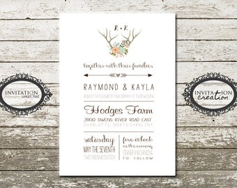 Country Rustic Antler Wedding Invitation Digital Download File