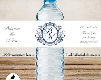 Wedding Water Bottle Labels - 100% Waterproof - Polyester Plastic Labels - Monogram in Vintage Frame - Wedding Favor