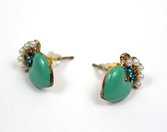 Peacock Heart Earrings - Mint - Harajuku Kawaii Pretty Japanese Korean style - Anime & Cosplay Fashion Jewellery