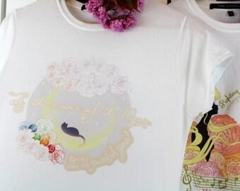 Luna Cat T-shirt - Sailor Moon inspired - Harajuku Kawaii Shoujou style - Anime Manga & Cosplay Fashion Apparel Top