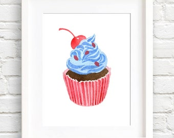 Cupcake - Art Print - Kitchen Art - Wall Decor - Watercolor Painting