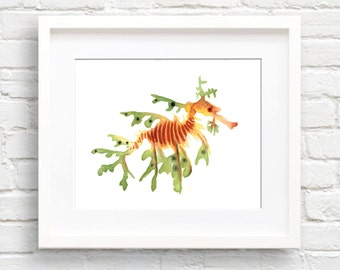 Leafy Seadragon Art Print - Wall Decor - Watercolor Painting