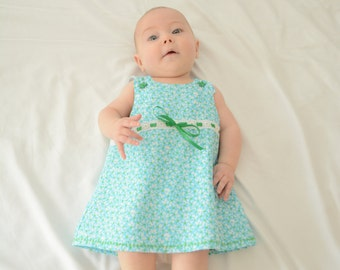 3-6 month blue and green floral dress