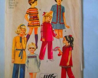 1970 Simplicity  #9093 sewing pattern  child and girls jiffy mini dress and pants