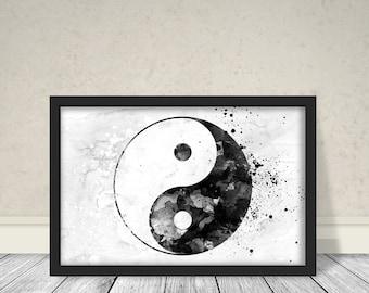 Yin Yang Minimalist Watercolor Art, Abstract Art, Black and white Art