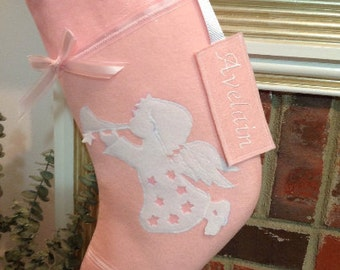 Custom Christmas stockings Pink or Blue, Christmas Angel Personalized Christmas stocking, kids Christmas Stocking, Baby Christmas Stocking