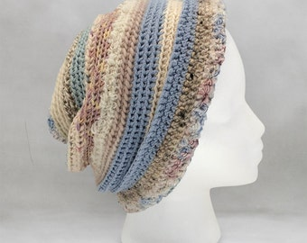Light Blue and Beige Crochet Hat