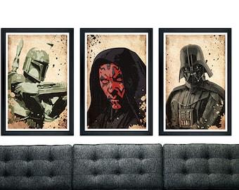 Star Wars inspired poster set, Darth Maul, Darth Vader, Boba Fett