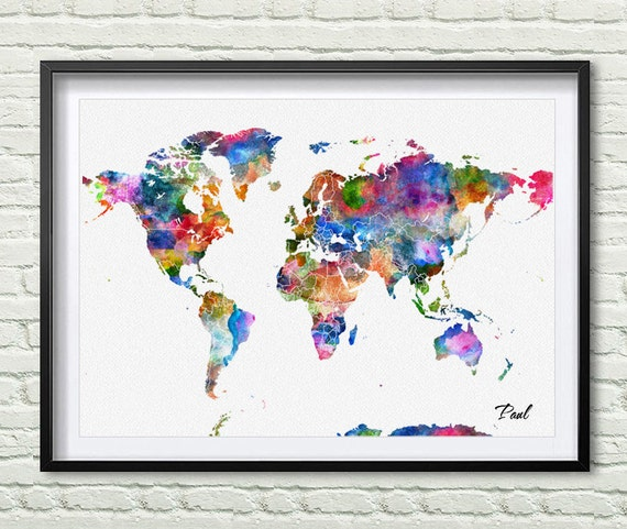 World map art print watercolor poster wall art decor wonderful for Poster decoration murale
