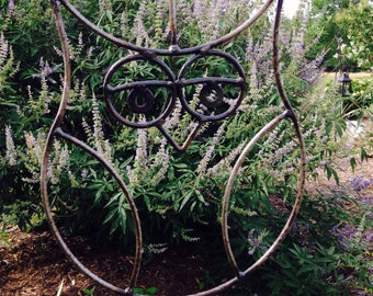 Metal Hanging Owl, yard art, garden decor, metal sculpture