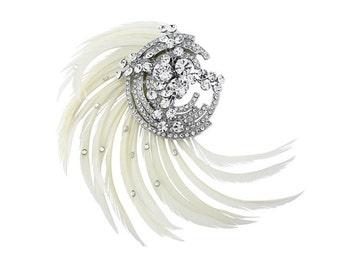White Bridal Feather Hair Clip, bridal hair jewellery, bridal hair Couture