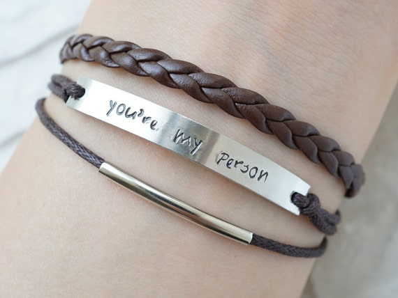 you re my person bracelet engraved bracelet brown by