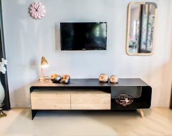Möbel TV Sammlung Lal, Metall und Holz.  Eisen Sie, Stahl und Holz.