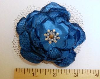 Aqua Flower Clip and Brooch. Sale