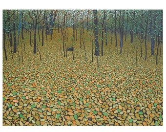 "Green Forest Floor - 5""x 7"" blank greeting card - original oil painting by Mark Berens - www.markberensart.com"