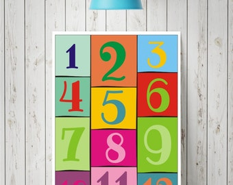 Colorful numbers, typographic print, printable poster, kids room decor, nursery wall art, childrens playroom print, instant download