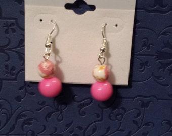 Pink bauble earrings