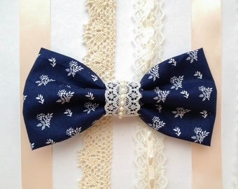 Navy blue Vintage floral with lace, boho style, vintage floral bow,vintage lace bow,jeweled bow, pearl hair bow
