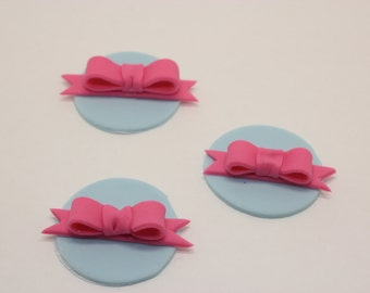 Edible fondant Cupcake Bow toppers