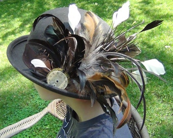 Sydney Hat - Brown Steampunk Bowler with Feathers and Copper Wire Accents