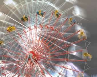 County Fair #2, Ferris Wheel Takes Off, Limited Edition fine art photograph, carnival scene, modern wall art, home decor, signed, red, gray