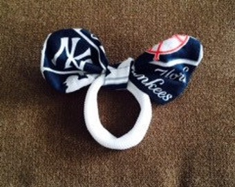 New York Yankees knotted hairbow ponytail