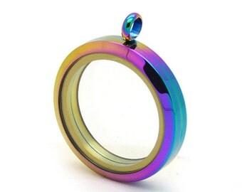 Rainbow Floating Locket, Stainless steel Glass Living Lockets, Round Memory Locket