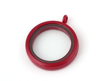 Hot Red Floating Locket, Round Living Locket, Memory Locket