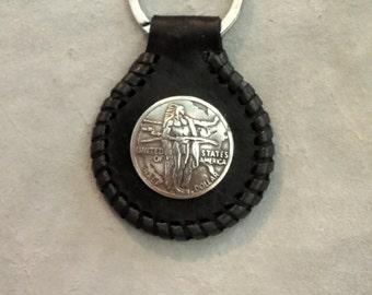 Handmade Leather Key Chain with Oregon Trail Half Dollar Concho