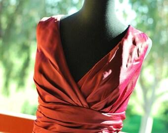 50shouse_V neckline tea length bridesmaid dress or retro wedding _ custom make_ any color