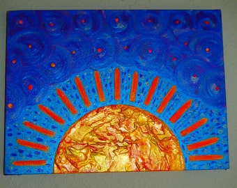 Sun oil painting ('Shine On') on canvas