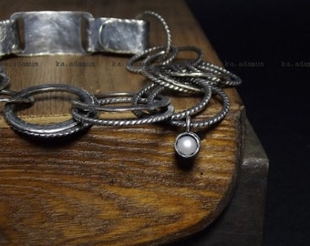 Freshwater pearl bracelet Sterling silver bracelet Sterling silver Oxidized