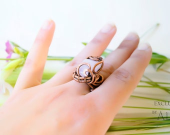 Wire Wrapped  Copper Ring - wire wrapped ring handmade