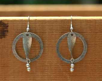 Metal Circle and Twist Silver Earrings