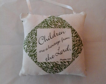 Quilted decorative hanging pillow with spripture inspiration