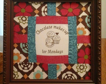 Chocolate quilt block in a frame