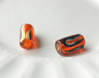 Glass tube beads x 2, Orange glass beads, Orange tube beads, Orange beads
