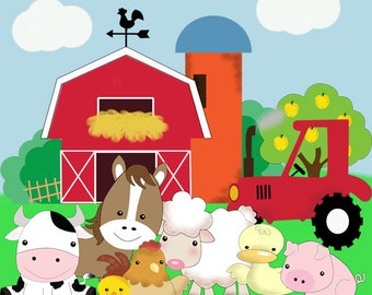 FARM ANIMAL BIRTHDAY, Farm animal party, Farm animal printable, farm animal prints, Farm party